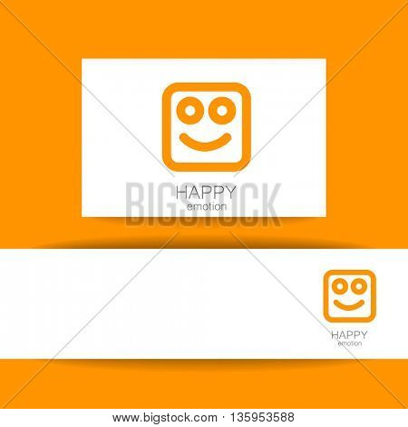 Happy logo template. Concept identity presentation design for company. Positive emotions, happy games, entertainment sphere. Vector graphic illustration.