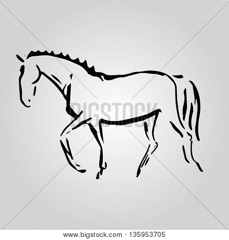 . The image of a horse from the lines. Abstract image - a symbol of equestrian sport (dressage). Vector illustration