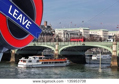 Britain Votes To Leave European Union,bridge With Red Buses Against City Cruise Ship In London, Engl