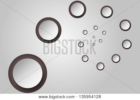 Abstract background with 3D circles in spiral or twist with decreasing size and own shadows that can be used as wallpaper infographics element or backdrop.