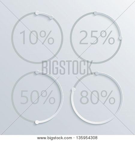 Vector modern circle percent set on sample background