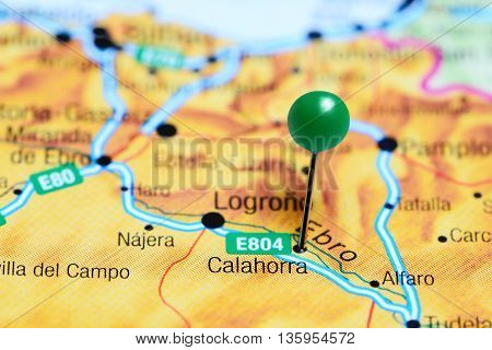 Calahorra pinned on a map of Spain