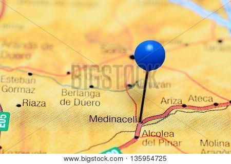 Medinaceli pinned on a map of Spain