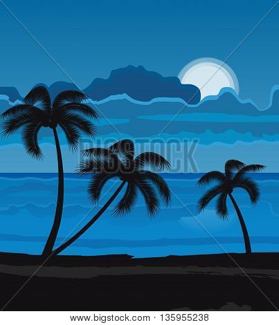Vector illustration Night Summer beach with palm trees, night landscape with moon