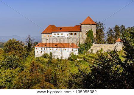 Ancient Podsreda castle Kozjansko Slovenia, view from adjacent hill
