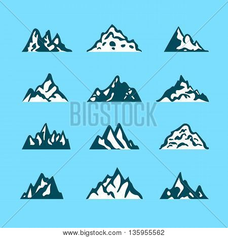 Mountain icon brush hand made stroke ink design element silhouette set