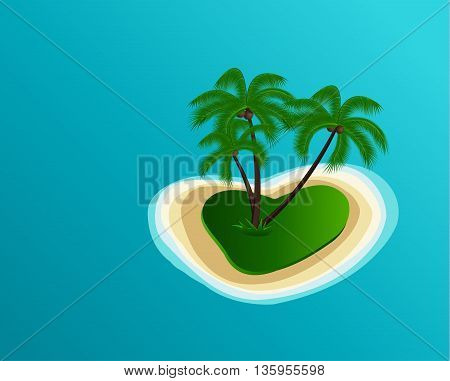 Summer vector illustration of the island in the shape of a heart with the palm trees and the sea