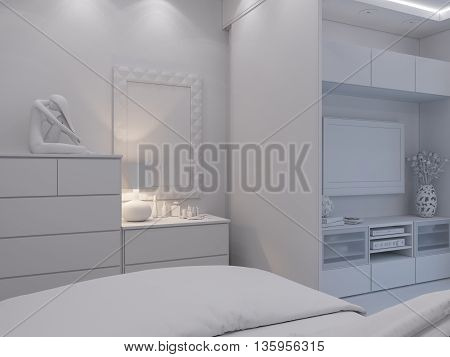 3D Rendering Living Room And Bedroom Interior Design.