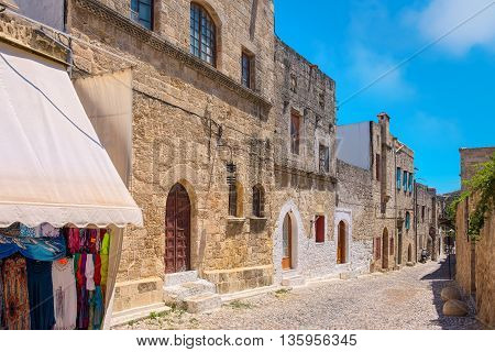 Street in the Rhodes old Town. Rhodes Dodecanese Islands Greece Europe