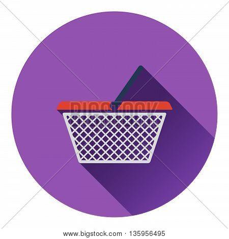 Shopping basket icon. Flat color design. Vector illustration.