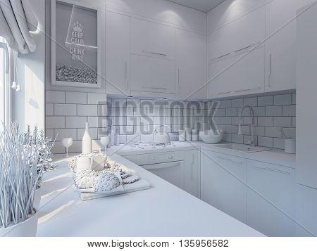 3D Rendering Kitchen Decor. Interior Design In A Modern Style