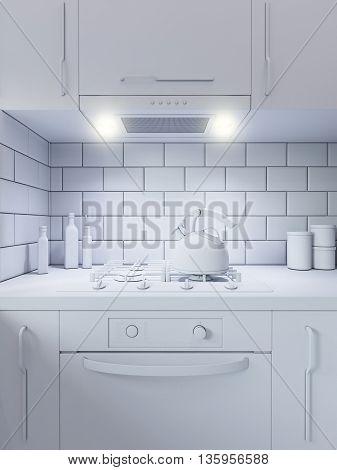 3d illustration kitchen decor interior design. Modern studio apartment in the Scandinavian minimalist style