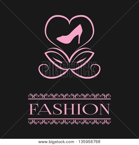 Postcard poster. Abstract flower bud in the form of a heart and the silhouette of stilettos. The inscription word Fashion in openwork frame. Pink illustration on a black background.