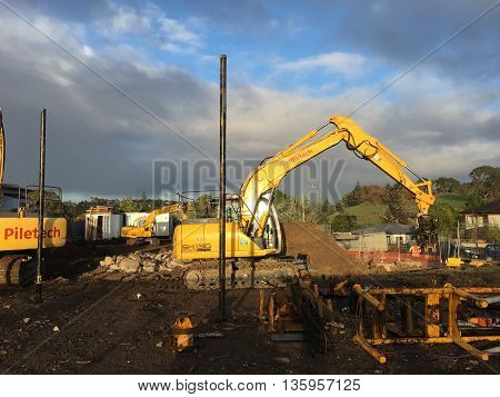 AUCKLAND JUN. 17: Mechanical digger excavator in operation at project construction work site in Auckland New Zealand taken on June 17 2016.