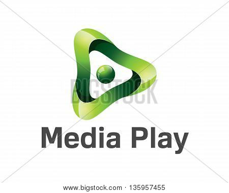 Colorful Media Play Logo Design. Colorful 3D Media Play Logo Vector Template. Media Play Concept Wit