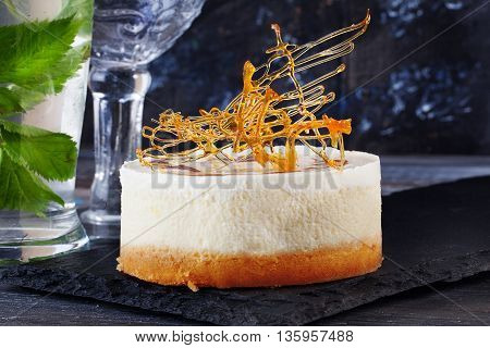 crusty crisp Chips Caramel decoration decor on the cake with layers of vanilla Still Life