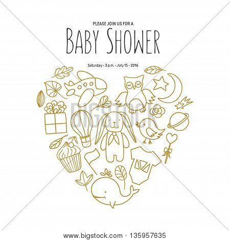 Baby shower invitation template. Cartoon style desgn elements for decoration. Baby shower holiday greeting cards. Hand drawn vintage illustration.