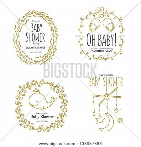 Baby shower invitation templates set. Floral desgn elements for decoration. Baby shower holiday greeting cards. Hand drawn vintage illustration.