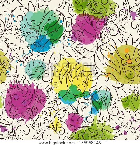 Seamless floral background. Hand drawn flowers and leafs with imitation watercolor on background. Vector