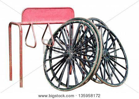 Old Bicycle Wheels on display at the market