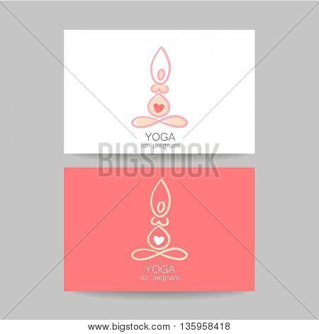 Logotype design template. Concept business card design. Idea for Yoga studio and classes for pregnant women.  Vector graphic illustration.