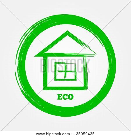 Green logo icon. House in the round frame the word ECO. Drawing brush by hand. Abstract isolated image.