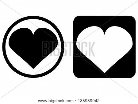 Set of two elements. Icon Heart button. Heart in the round frame heart on a square background. Isolated abstract image.