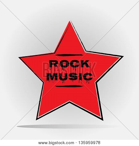 Red Star with an offset contour painted with a brush. Inscription Rock Music font with drops. Abstract isolated.