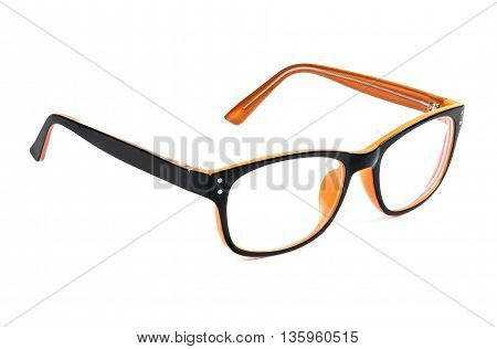 Orange glasses isolated on white background with clipping path