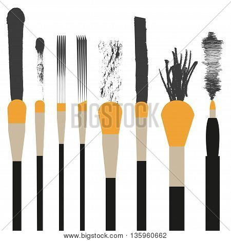 Set of makeup brushes Different makeup brushes. Trail makeup brushes. Flat design