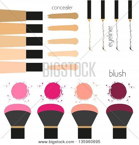 Set of decorative cosmetics Collection of cosmetic products. Concealer blush eyeliner. Cosmetics elements Flat design