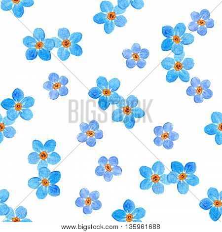 Floral Forget-me-not Flower Seamlrss Pattern, Watercolor Illustration