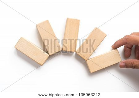 Hand Aranging Wood Block Stacking As Step Stair.
