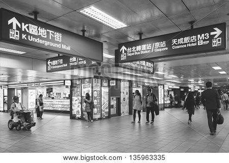 Taipei Station Taiwan - March 04 2016 : Taipei Station is the main transportation hub for both the city and for northern Taiwan.