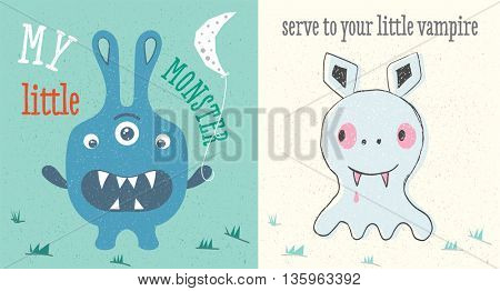 Monster and vampire set. Illustration in baby style