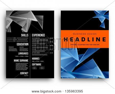 Set of Business Covers, Banners and Templates, resume. Geometric Pattern Backgrounds.