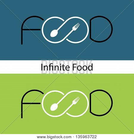 Food and infinity icon.Fork sign and spoon sign.Business or food and drink concept.Vector illustration.