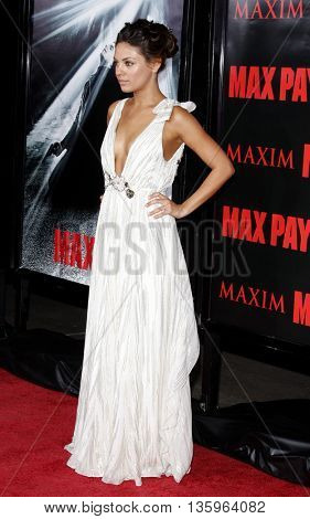 Mila Kunis at the Los Angeles premiere of 'Max Payne' held at the Grauman's Chinese Theater in Los Angeles, USA on October 13, 2008.