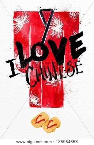 Poster red kimono lettering I love chinese drawing with drops and splash on watercolor paper background