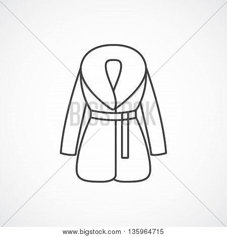 Women's fur coat vector line isolated icon