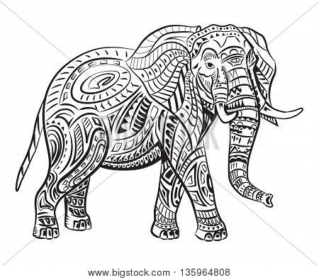 Hand-painted elephant with ornament. Tattoo elephant with patterns, coloring page, t-shirts.