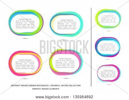 VECTOR, RECTANGLE WITH ROUND CORNERS , ABSTRACT COLORFUL FRAMES