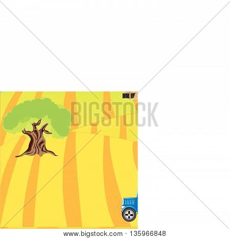 Rural terrain and tractor in field.Vector illustration