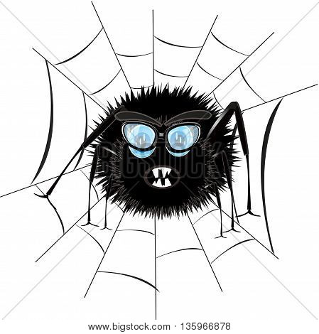 Cartoon insect spider on white background is insulated