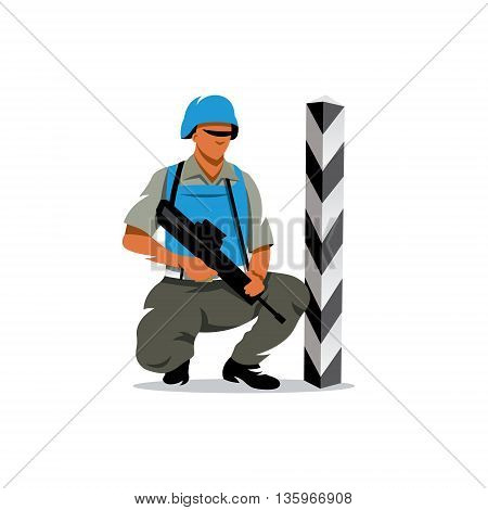 Soldier in uniform at the border post with a gun. Isolated on a white background