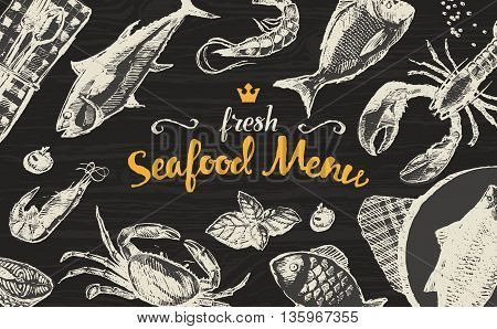 Collection of hand drawn seafood and fish vector illustration sketch engraved style