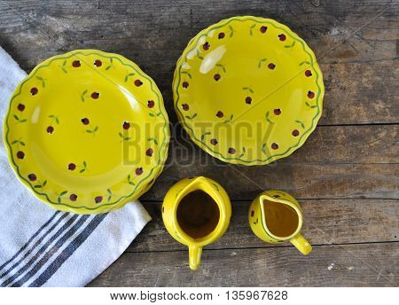 Rustic French Country Crockery on Wooden Board
