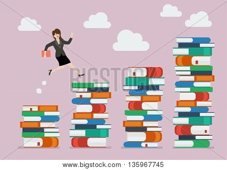 Business woman jumping over higher stack of books. Business education concept