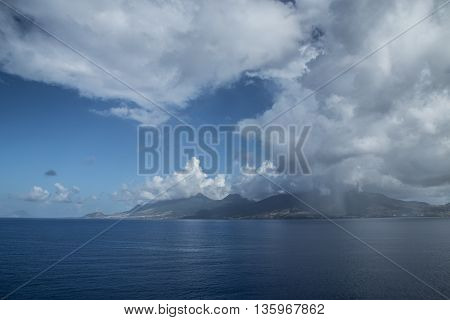 The Saint Kitts island and some clouds