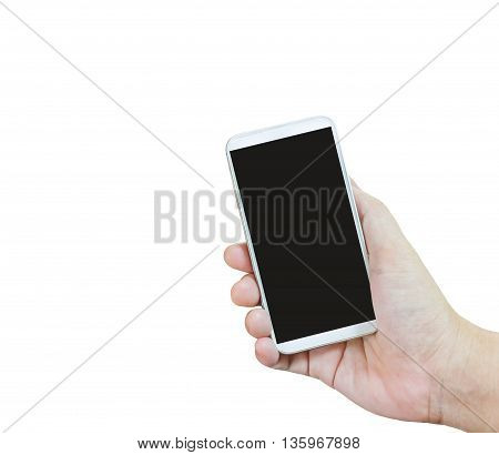 Isolated Hand Presenting Or Show White Smartphone On White Background, Closeup Isolated Hand Take Bi